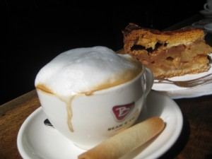 Apple tart and espresso at Cafe Papeneiland, Amsterdam, Luxury Travel Writer Nancy D. Brown
