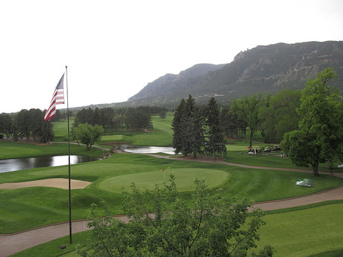 Golf course view from Broadmoor Spa