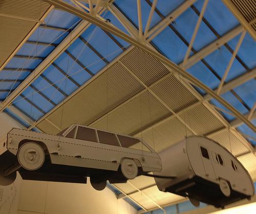 cardboard car, trailer