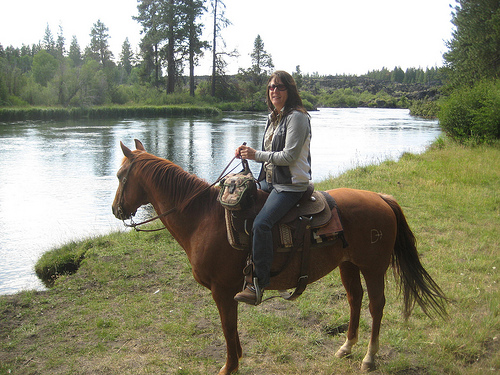 """horseback riding by Deschutes River"""