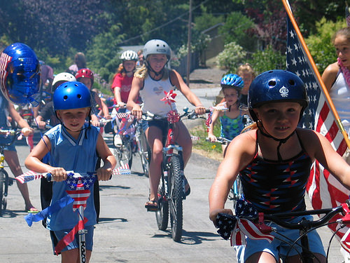 "kids, bikes ""July Fourth"""