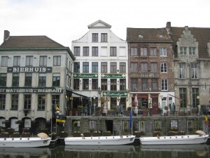 canal boats along the Leie, river, ghent, belgium