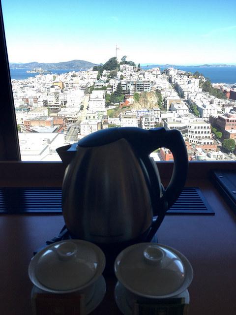 coit tower, san francisco, huanying, tea