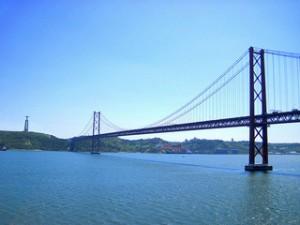 The 25th of April bridge in Lisbon, Portugal is similar to San Francisco's Golden Gate Bridge.