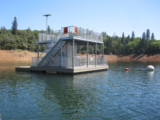 floating campground, Lake Orville
