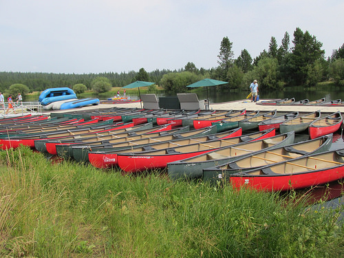 """""""Sunriver Marina"""" canoes"""