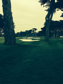 The fairway bunkers at TPC Harding Park golf course, San Francisco