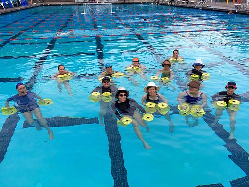 sun hat, water aerobics, outdoors