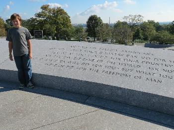The wall around JFK's grave
