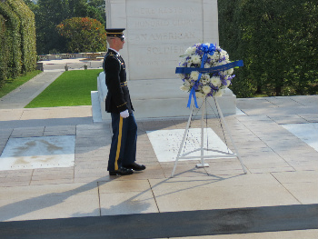 Changing of the Guard and a new wreath at the Tomb of the Unknown Soldier