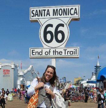 Jamie Rhein on a California road trip. Route 66 ends at the Santa Monica Pier.