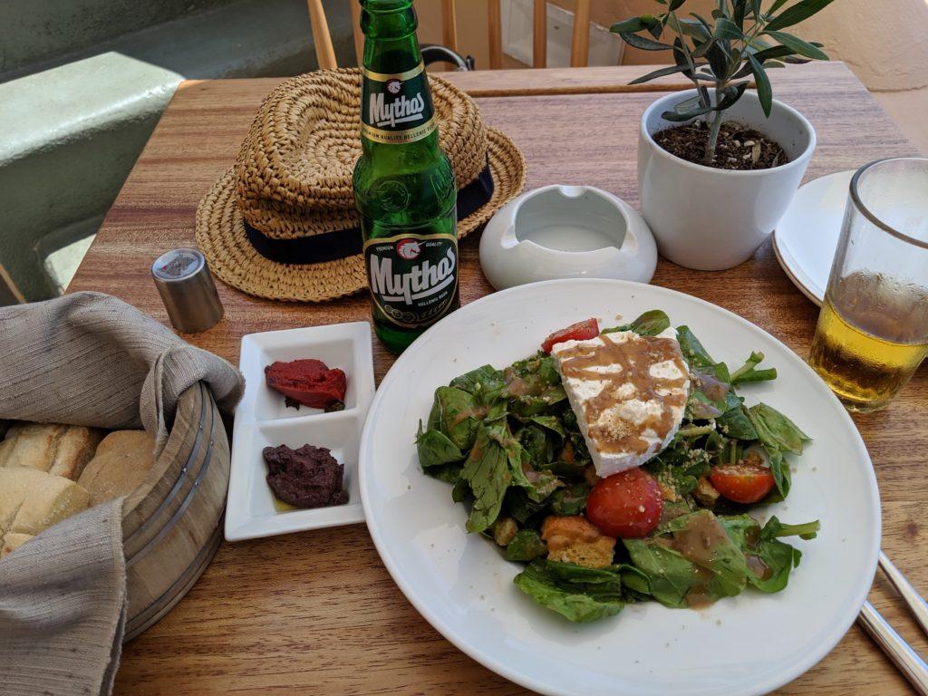 Greek meal in Santorini