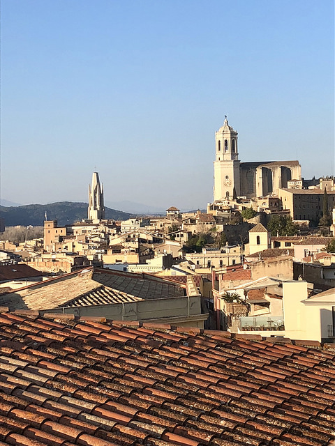 girona cathedral, costa brava, spain, medieval city rooftops, church