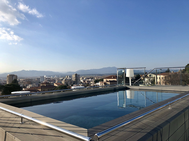 outdoor pool, ac hotel palau de bellavista, girona, spain, hotel pool