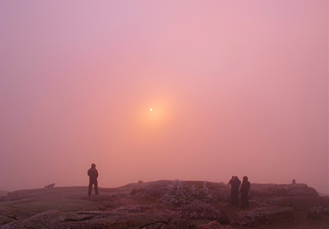 New Year's Day sunrise: Cadillac Mountain, Acadia National Park in Maine