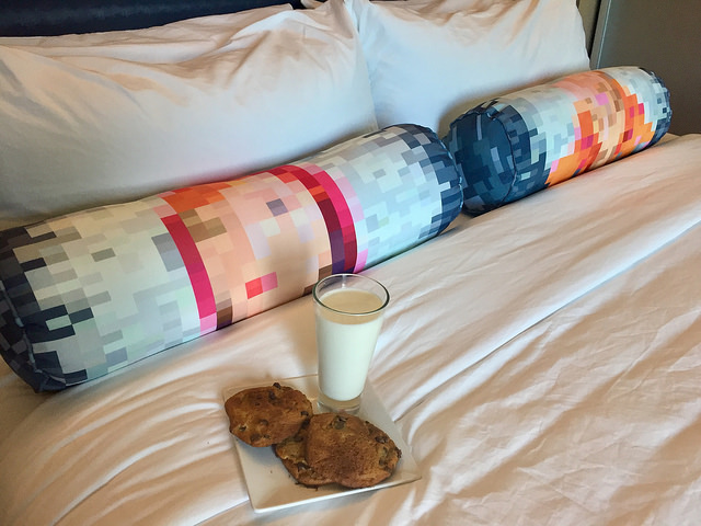 milk & cookies, hotel room, aloft hotel
