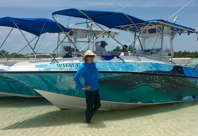 aquaworld, nancy d brown, coolibar spf swimwear, cancun, mexico, swim with whale sharks
