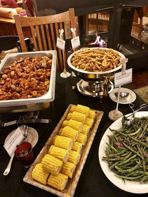 dinner buffet, brewery gulch inn, mendocino, california, bed & breakfast