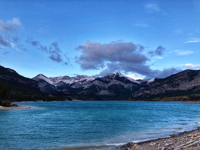Blustery day on windswept Barrier Lake in Kananaskis, Alberta, Canada.