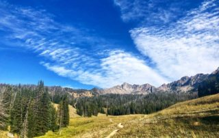 Blue sky day in Big Sky, Montana, headed up Beehive Basin trail, surrounded by forest.