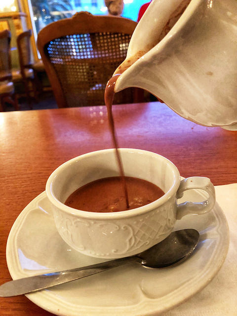 hot chocolate, miremont biarritz, france, basque food