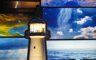 Biloxi Lighthouse with different weather patterns, from calm see to thunder and lightening. One of the things to see and do on Mississippi Gulf Coast.