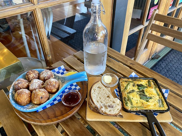 Broder Øst Nordic-inspired aebleskiver Danish pancakes with lingonberry jam and baked egg skillet are two Scandinavian breakfast dishes served at historic Hood River Hotel.