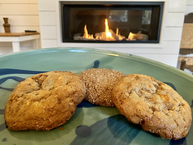 Chocolate chip cookies by the fire at The Bungalows at Calistoga in California.