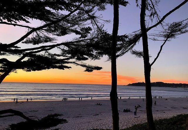 carmel beach at sunset