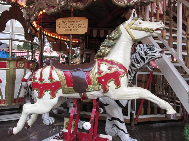 carousel horse, christmas market, nurenburg, germany