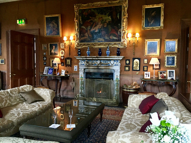castle leslie, drawing room, fireplace, county monaghan hotel, castle leslie estate, county monaghan, ireland