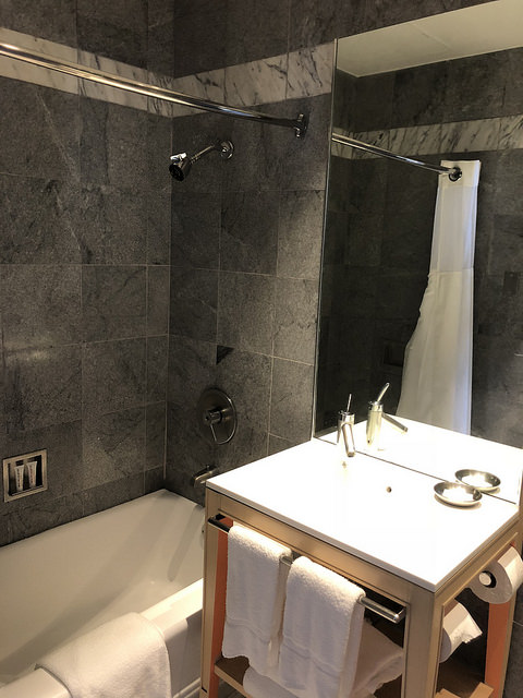 clift royal sonesta hotel review, bathroom, clift hotel san francisco