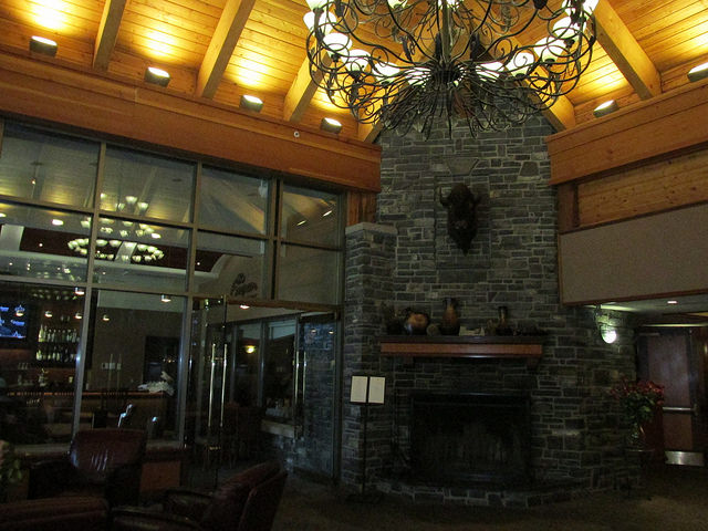 delta banff royal canadian lodge, fireplace, hotel lobby
