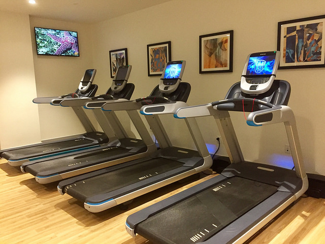 fitness center, gym, doubletree hilton new york times square west, hotel gym, treadmills