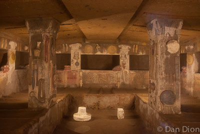 The ancient interior of one of the Etruscan cities of the dead.