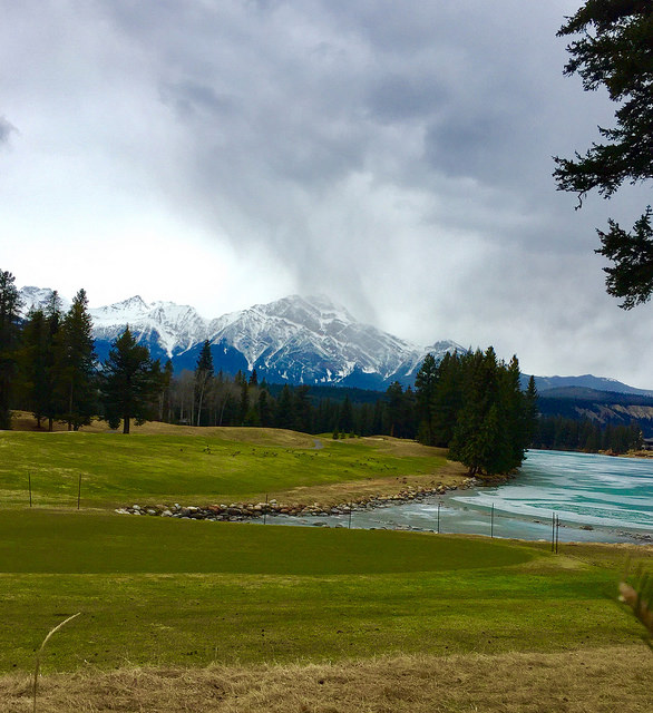 golf, 14th hole, fairmont jasper park lodge, golf course, canadian rockies, jasper, alberta, canada
