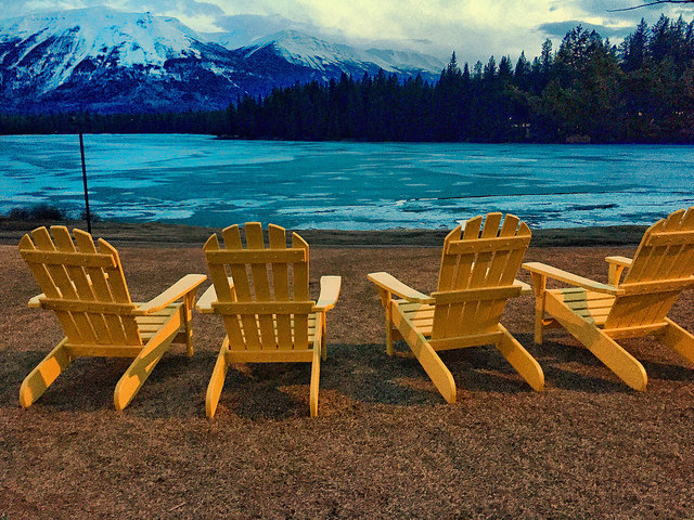 adirondack chair, jasper park lodge, jasper national park, lac beauvert, lake beauvert, alberta, canada