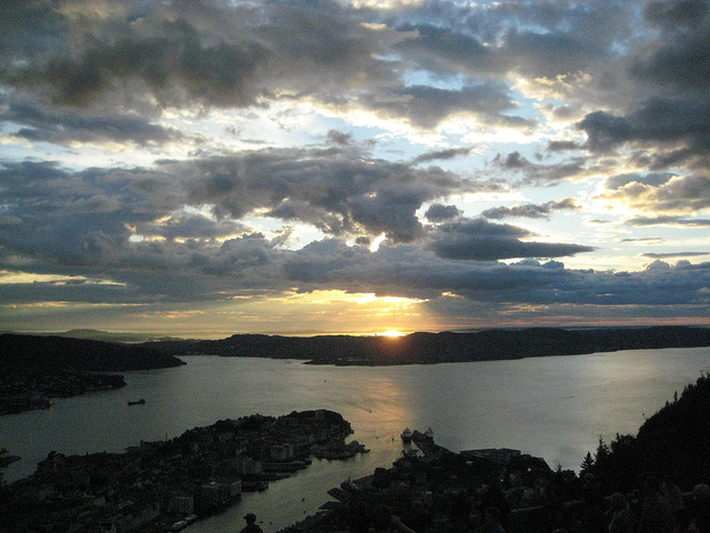 mount fløyen, sunset, bergen, norway