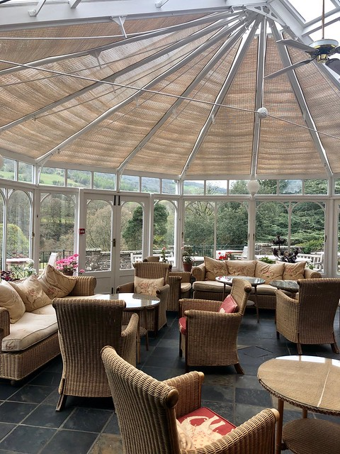 conservatory, gliffaes country house brecon beacons hotel, south wales luxury hotel