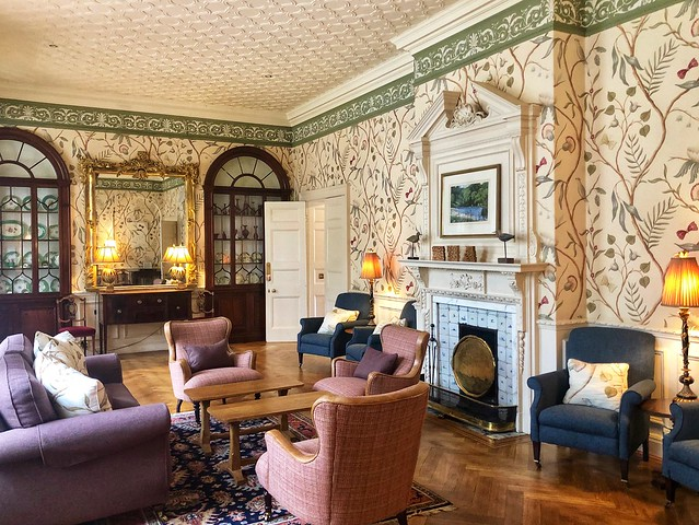 drawing room, gliffaes country house hotel, south wales country house bed & breakfast