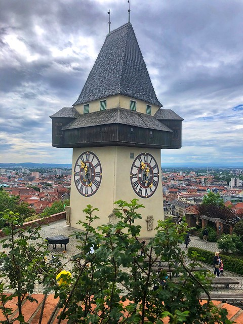 Uhturm or clock tower on Castle Hill is the landmark of Graz, Austria
