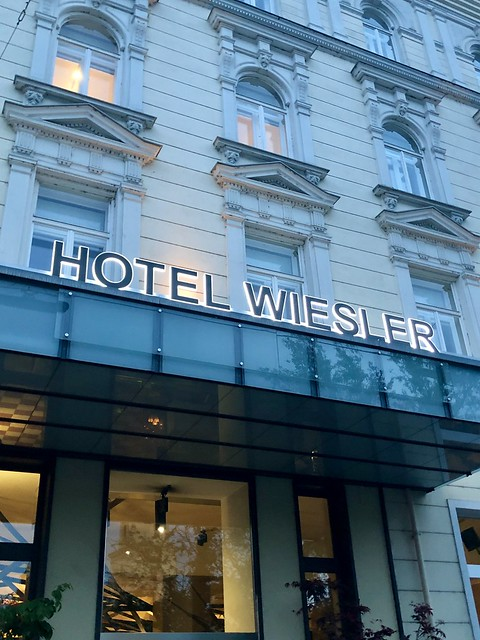 exterior photo of grand hotel wiesler front entrance to luxury graz hotel