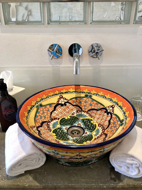 hand-painted tavalara sink from mexico, hotel grand wiesler sink in hotel room