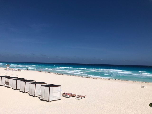 bali bed, grand park royal cancun all inclusive luxury in mexico, white sand beach, caribbean sea, cancun mexico beach