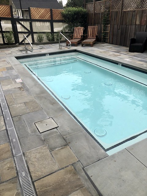 Grape Leaf Inn spa pool is heated and open year-round at the Healdsburg hotel in California.