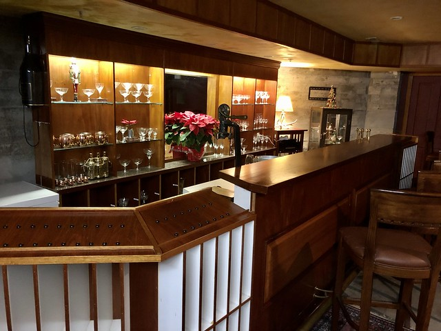 The secret speakeasy below the main floor of Grape Leaf Inn includes a bar and private wine tasting room.