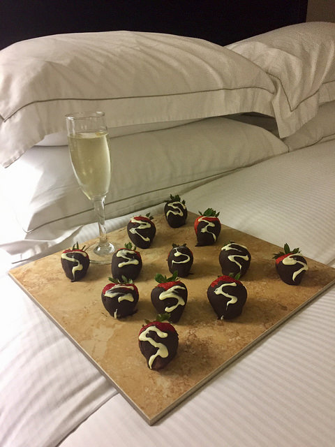 chocolate covered strawberries, champagne, room service hilton columbia center, south carolina hilton hotel