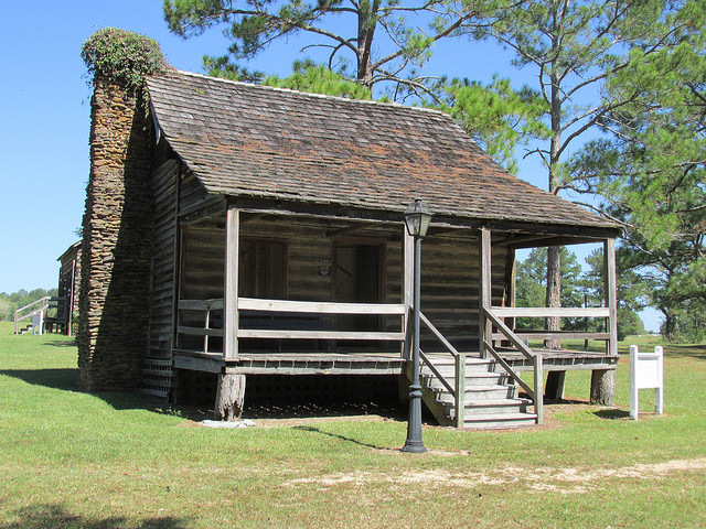 historic camden, revolutionary war site, south carolina log cabin