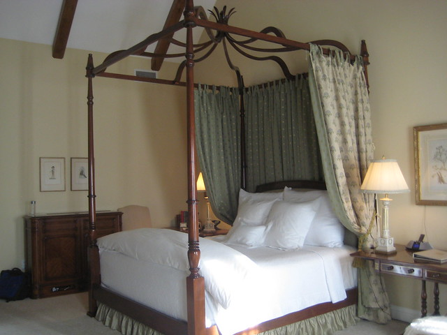 Hotel Les Mars king size bed with wood frame canopy, 18th century antique bed frame.
