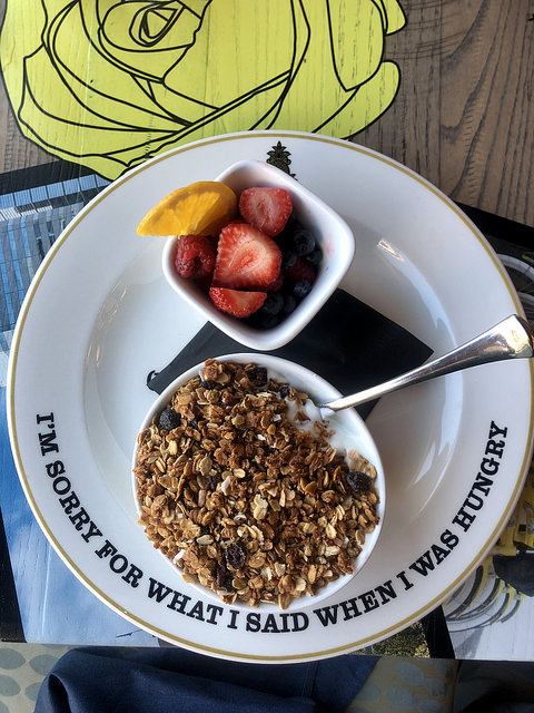 bottle + kitchen breakfast, granola, hotel rose review, portland oregon hotel, sunday brunch